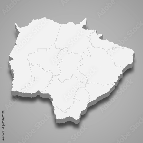 mato grosso do sul 3d map state of Brazil Template for your design Canvas Print