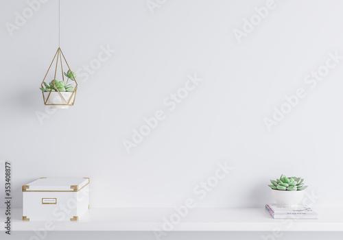Obraz White mock up wall in modern interior, close up for white box and plants on shelf, minimal design - fototapety do salonu
