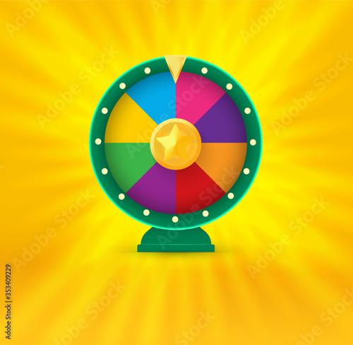 Fototapeta Vegas casino round fortune wheel logo