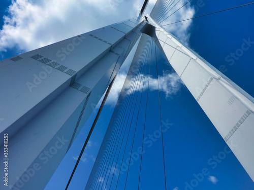 Fototapeta premium Most, dźwigar mostowy, niebo, architektura, niebieski, abstrakcyjny, chmura, biały