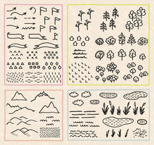 Set With Thematic Sets Of Cartographic Symbols. Vector Illustration With Hand-drawn Elements For A Map. Doodles In The Style Of Line Art And Flat.