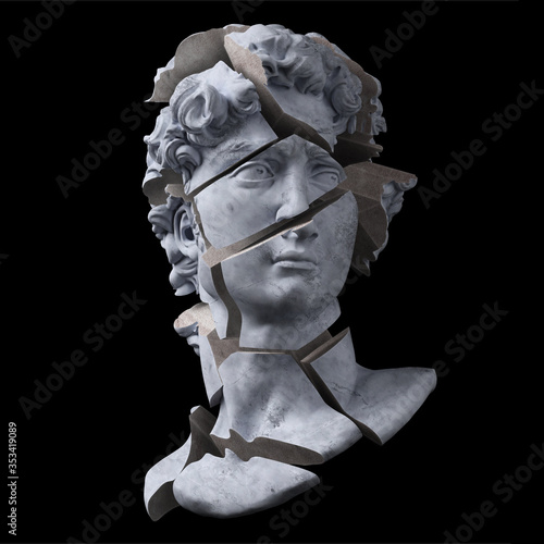 Photo Abstract illustration from 3d rendering of a concrete bust of Michelangelo's head statue shattered into pieces and isolated on background