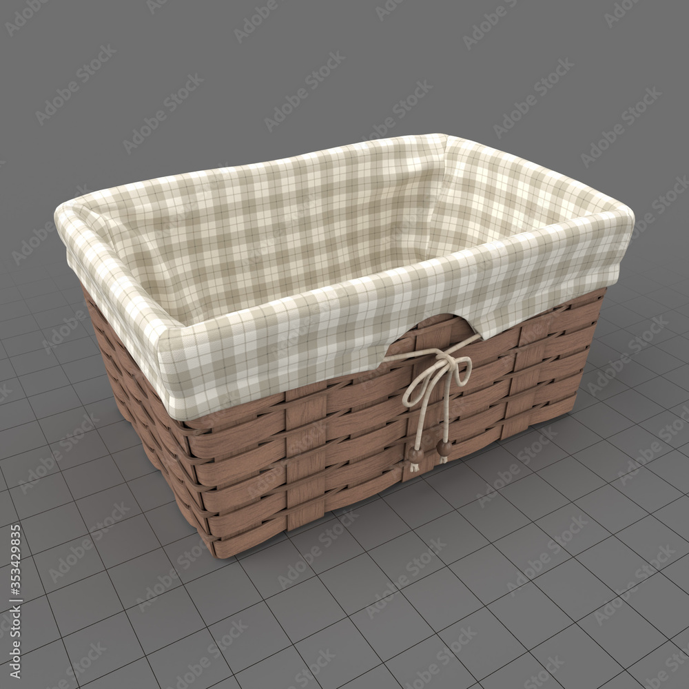 Fototapeta Picnic wicker basket with fabric