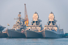 01/07/2020 Mumbai. India. Three Warships Of The Indian Navy Anchored In Mumbai