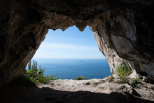 View Looking Out From One Of The Goats Hair Twin Caves In Gibraltar