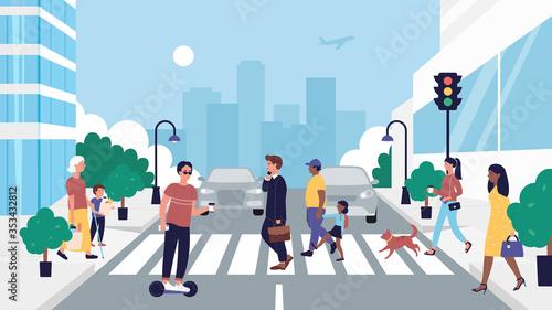 Fényképezés People crossing road vector illustration