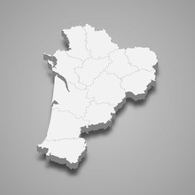 Nouvelle Aquitaine 3d Map Region Of France Template For Your Design
