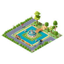 Isometric Green City Park With People, Pond, Bridge, Plants, Benches And Fountain In Centre Vector Illustration. A Zone Of Rest And Relaxation For Family. Outdoor Public Park Concept With Characters