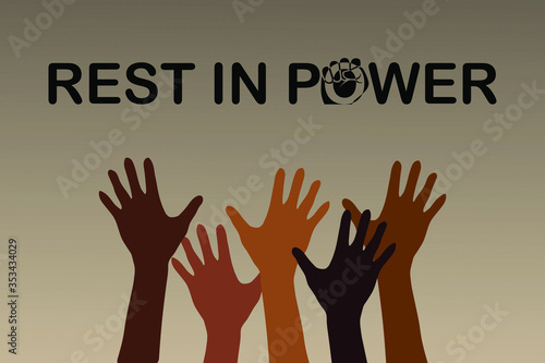 фотографія Vector illustration with the text Rest In Power in honor of the victims of racial discrimination
