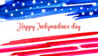 4th of July design template with USA national flag colors and title. Hand drawn watercolor sketch illustration