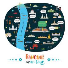 Tourist Map Of Bangkok, Thaila...