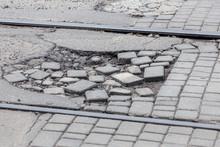 Damaged Road With Potholes, Ca...