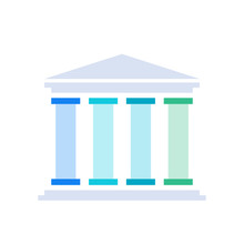 Four Pillars Diagram. Clipart Image Isolated On White Background