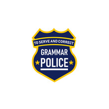 Grammar Police Badge Icon. Clipart Image Isolated On White Background