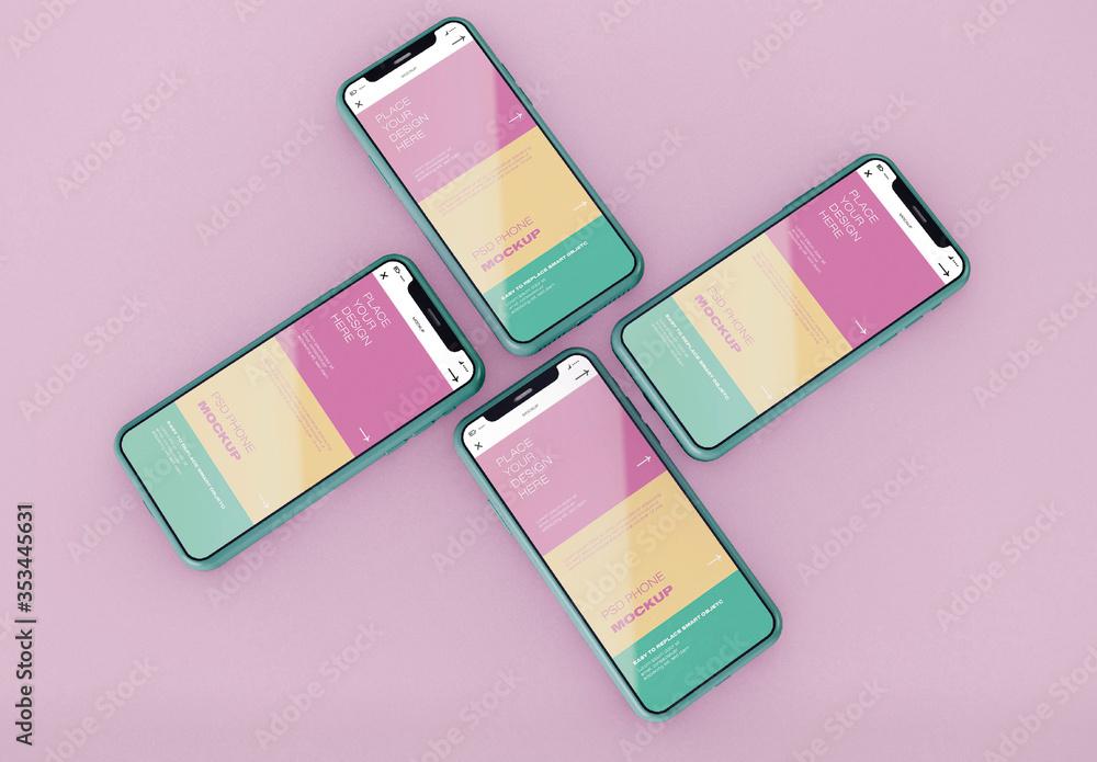 Fototapeta Front View of 4 Smartphones Mockup