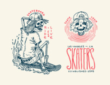 Skateboard Badges And Logo. Vintage Retro Template For T-shirt And Typography. Skeletons Ride On The Boards Concept And Skull In A Cap. Letter Phrases. Hand Drawn Engraved Sketch For Shop Or Tattoo.