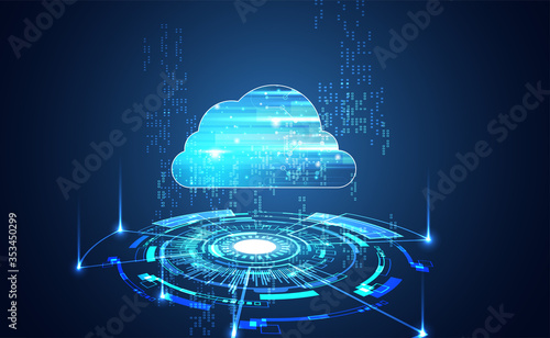 Fotografia Abstract cloud technology with big data and interface concept Connection by collecting data in the cloud With large data storage systems on hi tech background