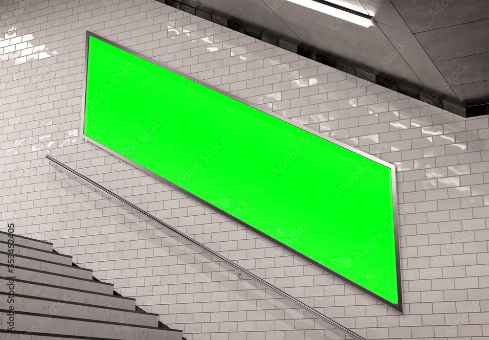 Fototapeta Parisian style billboard on underground stairs wall Mockup. Panoramic hoarding advertising in white tiles tunnel interior. 3D rendering