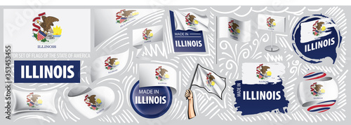 Vector set of flags of the American state of Illinois in different designs Poster Mural XXL