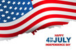 Happy 4th of July. USA independence day greeting card with American flag and lettering. Vector illustration.