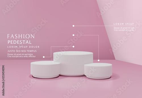 Foto Vector pink minimal scene , podiumfor cosmetic product presentation