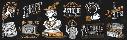 Valokuva Antique shop labels or badges set