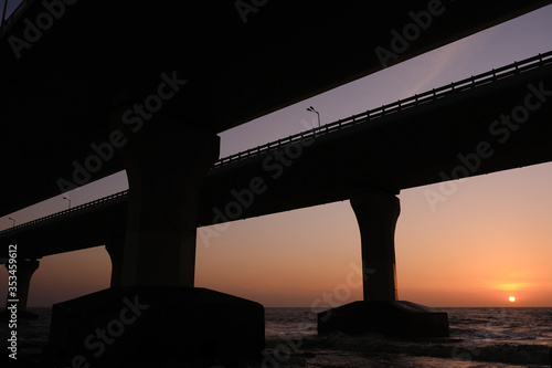 Silhouette, Bandra Worli Sea Link, Bridge of Mumbai City, Sunset Wallpaper Mural