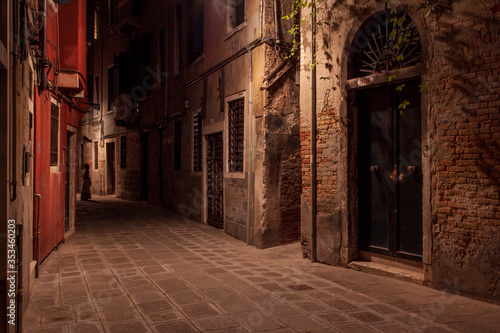 Empty streets of Venice at night. Mystic atmospheres both