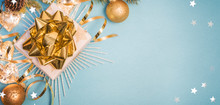 Christmas Composition. Gifts, Fir Tree Branches, Decorations On Holiday Background. Christmas, Winter, New Year Concept.