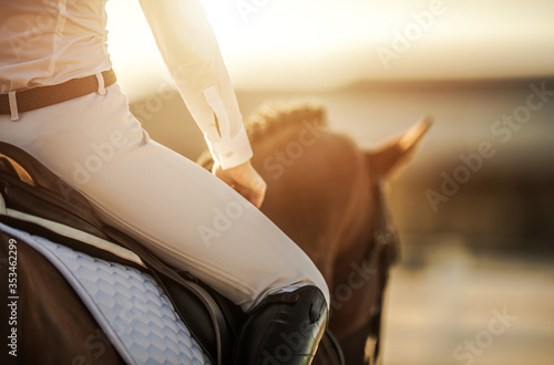 Female Horse Rider in Equestrian Facility Canvas Print