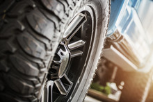 Deep Tread Of Off Road Tires Installed In Pickup Truck