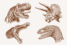 Graphical Vintage Set Of Dinosaurs, Vector Sepia Illustration,lizards For Poster And Typography