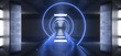 canvas print picture Sci Fi Concrete Futuristic Tunnel Corridor Column Pillars Room Neon Spiral Light Glowing Laser Blue Vibrant Catwalk Alien Spaceship Showroom Gate 3D Rendering