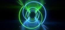 Neon Glowing Sci Fi Cyber Synth Wave Green Blue Spiral Glowing Concrete Grunge Underground Floor Showroom Hallway Garage Tunnel Space Ship 3D Rendering