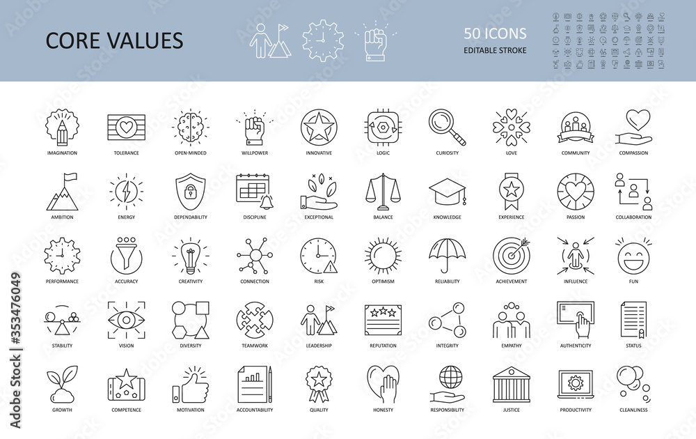 Fototapeta Vector icon core values. Set 50 icons with editable stroke. Values of business company and person. The logic of imagination tolerance willpower open-minded innovative. Curiosity community dependabilit