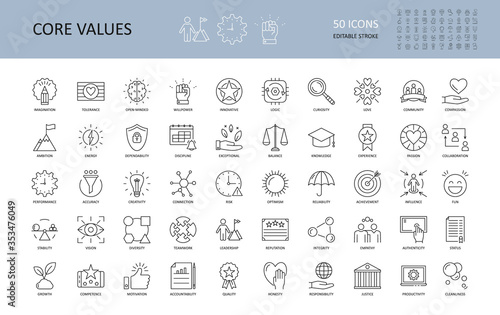 Obraz Vector icon core values. Set 50 icons with editable stroke. Values of business company and person. The logic of imagination tolerance willpower open-minded innovative. Curiosity community dependabilit - fototapety do salonu