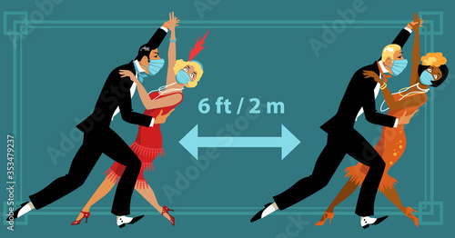 Obraz Coupleы dressed in vintage twenties fashion and protective face masks dancing 6 feet apart to prevent spread of virus, EPS 8 vector illustration   - fototapety do salonu
