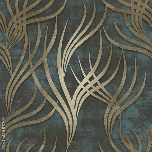 Gold curved lines pattern and old blue background