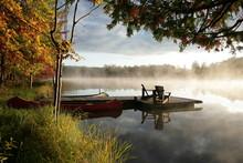 Boat On The Lake, Sunrise In The Fall, Baldwin Michigan