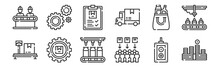 Set Of 12 Thin Outline Icons Such As Money, Consumer, Package, Product, Clipboard, Settings For Web, Mobile