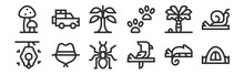 Set Of 12 Thin Outline Icons S...