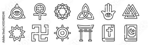 set of 12 thin outline icons such as quran, torii gate, swastika, hamsa, anahata Canvas Print