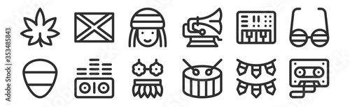Fotografie, Obraz set of 12 thin outline icons such as cassette, drum, sound waves, synthesizer, r