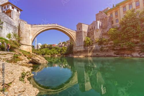 Stari Most, old bridge in Mostar by day, Bosnia and Herzegovina Fototapete