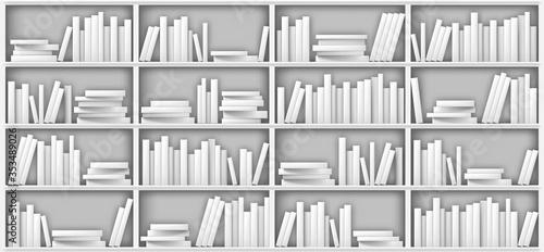 Valokuvatapetti White bookshelf mockup, books on shelf in library, home, school or office interior