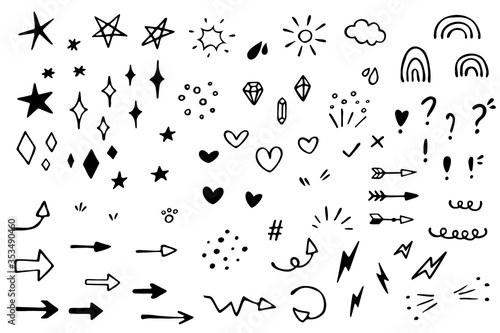 Valokuva Vector set of different stars, sparkles, arrows, hearts, diamonds, signs and symbols
