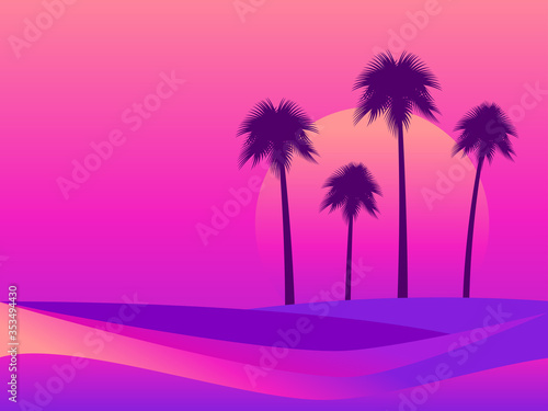 Obraz Tropical landscape with palm trees on a background of sea sunset. Colorful gradients in the style of the 80s. Retro futuristic style. Background for advertising, poster and banner. Vector illustration - fototapety do salonu