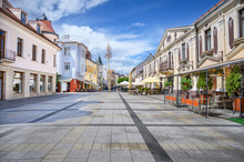 Pedestrian Zone With Historical Buildings In Centre Of Spa Town Piestany (SLOVAKIA)