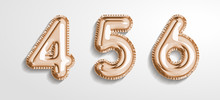 Soft Rose Gold Balloon Number 4, 5, 6 Realistic 3d Render Air Balloon. Collection Of Balloons Number Ready To Use. Holiday And Party. 3d Vector Icon Set. Foil Balloon Number Zero Isolated On White