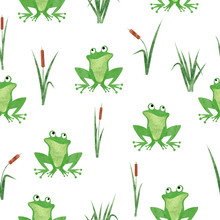 Cute Watercolor Frog Pattern. ...